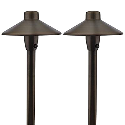 """MarsLG BRS1 ETL-Listed Solid Brass Low Voltage Landscape Accent Path and Area Light with 6.5"""" Shade and 18"""" Stem in Antique Brass Finish, Ground Spike and Free G4 LED Bulb, 36PL01BS-P"""
