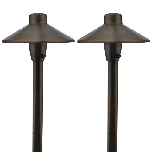 MarsLG BRS1 ETL-Listed Solid Brass Low Voltage Landscape Accent Path and Area Light with 6.5'' Shade and 18'' Stem in Antique Brass Finish, Ground Spike and Free G4 LED Bulb (2-Pack), 36PL01BSx2 by MarsLG