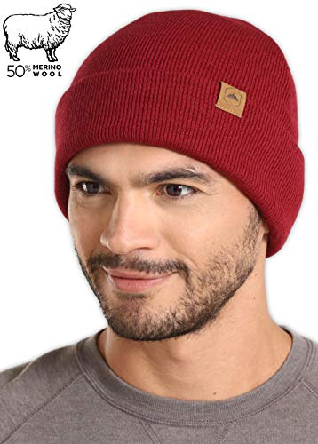 (Tough Headwear Merino Wool Cuff Beanie Watch Cap - Warm, Soft & Stretchy Knit Hats for Men & Women - Skull Cap for Daily Use - Winter Toboggans for Outdoor Expeditions )