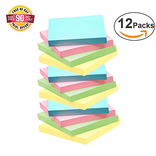 Sticky Notes,12 Pads HQGOODS Self-Stick Notes with 4 Candy Colors, 100 Sheets/Pad, 3 X 3 inches, Easy to Post for Home/Office