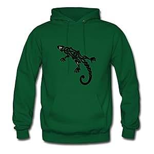 X-large Women Lizard Vogue Personalized Green Cotton Hoody