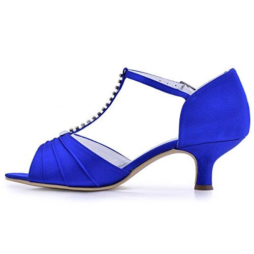 ElegantPark Zapatos 035 Abierta Baile Vestir EL de Tacón Noche Mujer Rhinestones Punta Azul Bajo Sandalias Satin TTvHq4Rwrx
