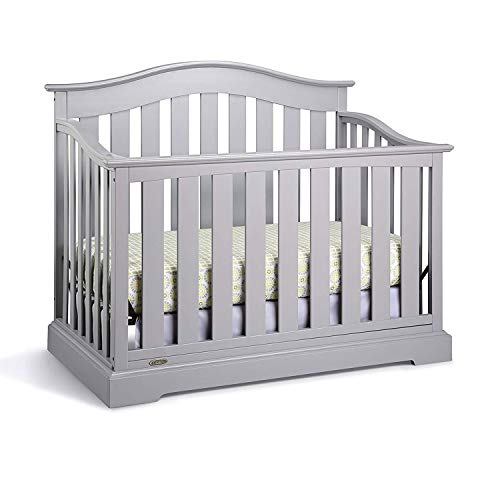 Graco Westbrook 4-in-1 Convertible Crib, Pebble Gray, Easily Converts to Toddler Bed Day Bed or Full Bed, Three Position Adjustable Height Mattress, Some Assembly Required (Mattress Not Included)