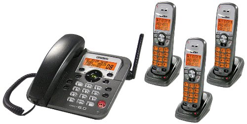 (Uniden DECT1588-3T DECT 6.0 Corded/Cordless Digital Answering System with Dual Keypad and Cordless Handset and)