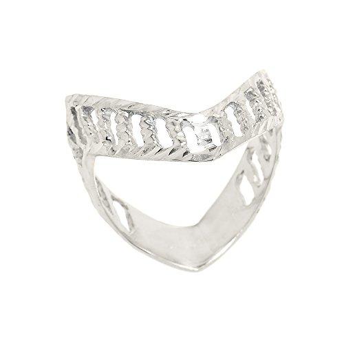 polished 14k white gold open design band thumb ring