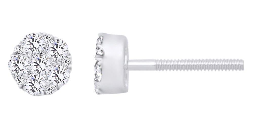 0,75 kt Form natürlichen rund Weißszlig; Diamant-Cluster-Ohrstecker in 14 ct 585 Massiv Weißszlig; Gold 14 Karat (585) WeißGold