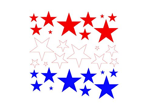 red white blue stars set of 30 4th of july decor memorial day