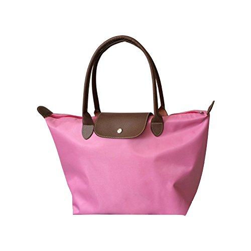 NOTAG Nylon Bolsos de Plegable Totalizador Mujer, Impermeable Bolsa de Playa Shopper Bolsa con Cremallera Rosado