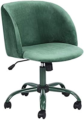 Amazon Com Eggree Mid Back Swivel Adjustable Home Office Chair Modern Accent Velvet Fabric Computer Desk Chair With Soft Velvet Seat Armrest 5 Wheels Aqua Home Kitchen
