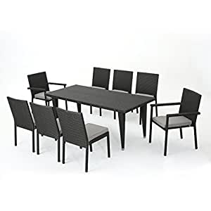 Grand Outdoor 9 Piece Grey Wicker Rectangular Dining Set with Silver Water Resistant Cushions