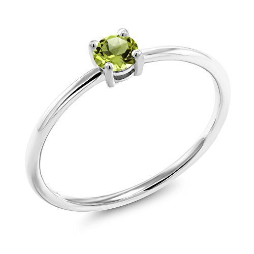 - Gem Stone King 0.30 Ct Round Green Peridot 10K White Gold Solitaire Ring (Size 7)