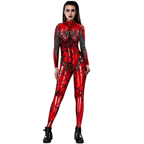 Tsyllyp Carnage Gwen Costume Red Spandex Spiderman Female Women Halloween Cosplay Bodysuit Jumpsuit ()