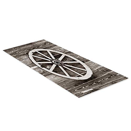 "C COABALLA Barn Wood Wagon Wheel Waterproof Floor Sticker,Retro Wheel on Timber Wall Barn House Village Cart Circle Decorative for Kitchen Living Room,35.4"" L x 23.6"" W"