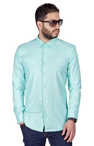 Mint Green Wedding (AZAR MAN New Men's Slim Fit Men's Solid Color Dress Shirts Spread Collar (Large 16, Mint)