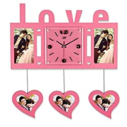 Ambiguity Wall Clocks, Wooden Decoration Watch Love Photo Frame Wall Clock Mute Quartz Wall Clock Mute Non-tick Easy to Read Home/Office/School Clock