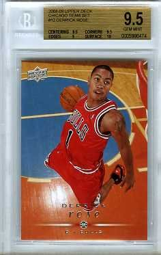 (2008/09 Upper Deck #12 Derrick Rose ROOKIE BGS 9.5 GEM MINT Bulls Shipped in Ultra Pro Graded Card Sleeve to Protect it !)