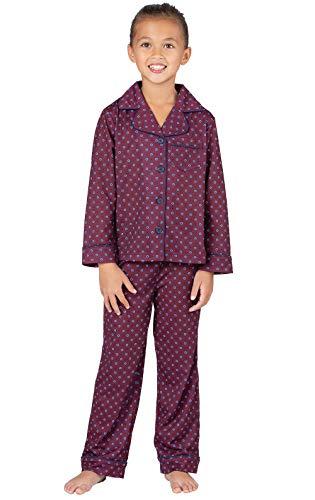 PajamaGram Classic Foulard Girls Pajamas - Burgundy - Set Stg