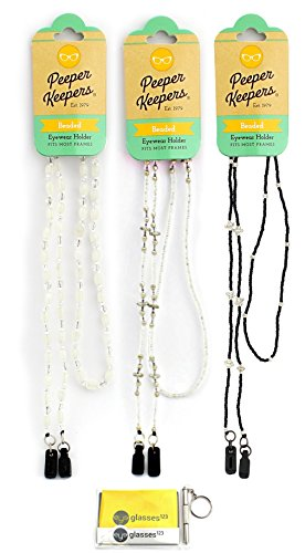 Eyeglass Retainer & Sunglass Holder By Peeper Keepers Light Classic Beads, Assortment Light Classic, 3pk mix | w/Microfiber Cloth & Screwdriver