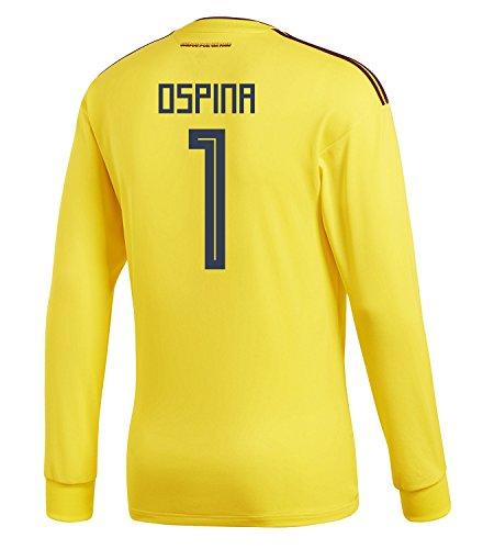 熱確認するリサイクルするadidas Mens OSPINA #1 Colombia Home Long Sleeve Soccer Jersey World Cup 2018 /サッカー ユニフォーム オスピナ 背番号 1 コロンビア ホーム用 長袖