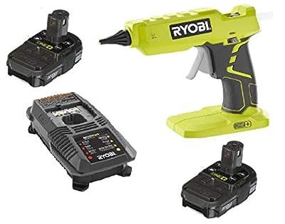 Ryobi One + 18 Volt Lithium Ion Hot Glue Gun P305 + (2) Batteries P102 + Charger P118 (Bulk Packaged)