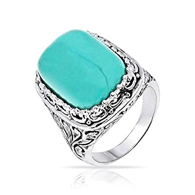 hot Bling Jewelry Filigree Reconstituted Turquoise Sterling Silver Cocktail Ring get discount