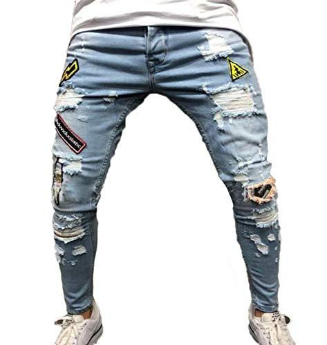 Famesale Vaqueros Moda con de los Agujero Roto Bordado Pantalones de Hombres Ajuste Regular Diseño de Cremallera Distintivo Vaqueros rnOrx7