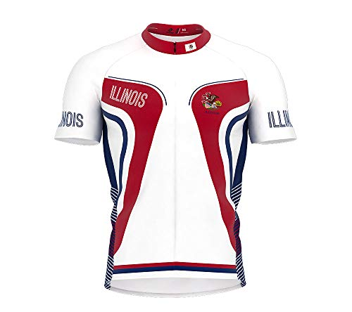 Illinois Cycling Jersey - ScudoPro Illinois Bike Short Sleeve Cycling Jersey for Men - Size L