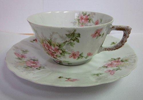 Vintage Elite Works Limoges Cup and Saucer Set from France (Pink Flowers) (France Saucer)