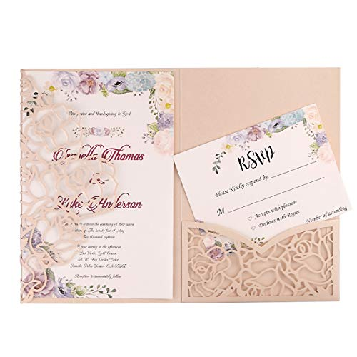 FEIYI 20 PCS 3 Folds Laser Cut Rose Shape Wedding Invitations Cards for Wedding Bridal Shower Engagement Birthday Graduation Invitation Cards (Blush Pink)