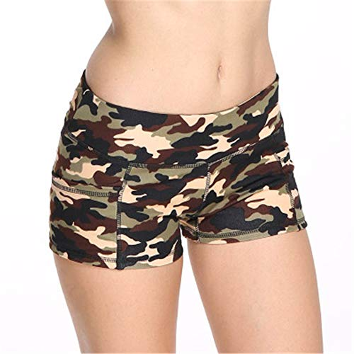 MLMYLZY Women's Camouflage Sports Shorts Casual Elastic Fitness Pants Yoga Shorts Beige XL=US/10 ()