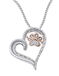 White Natural Diamond Paw Print Heart Pendant Necklace In 10K Solid Gold (0.1 Cttw)