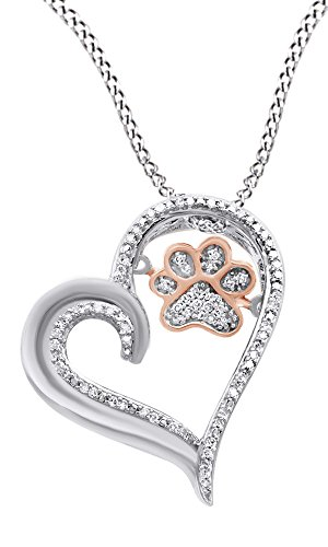 AFFY White Natural Diamond Paw Print Heart Pendant Necklace in 925 Sterling Silver & 10K Rose Gold (0.1 Cttw)