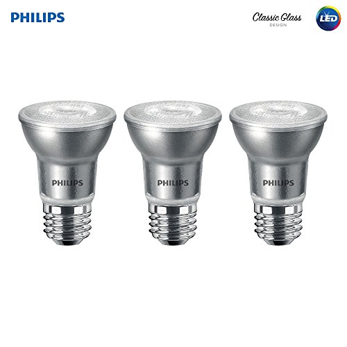 Philips LED Classic Glass Dimmable PAR16 40-Degree Spot Light Bulb: 400-Lumen, 3000-Kelvin, 5.5-Watt (50-Watt Equivalent), E26 Base, Bright White, 3-Pack (475434)