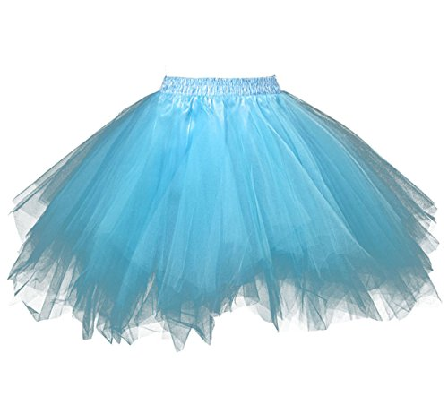 Kileyi Womens Tutu Costume Adult Party Dance Tulle Skirt Short Fluffy Petticoat Blue S (Blue Jeans Skirt Made By Rave)
