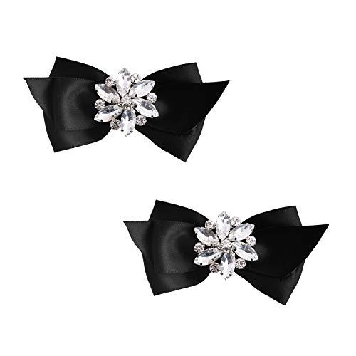 - ElegantPark CQ Women Bow Shoe Clips Rhinestones Decorative Jewelry Wedding Party Accessories Decoration Black 2 Pcs