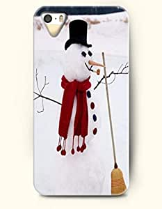 OOFIT iPhone 4 4s Case - Diligent Snowman With Red Scarf Holding Broom