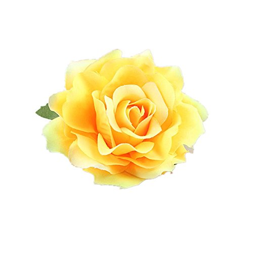 Lovefairy Beautiful Rose Flower Hair Clip Pin up Flower Brooch For Party Travel Festivals - Brooch Yellow Rose