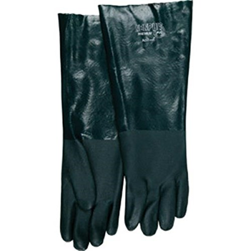 MCR Safety Premium Grade Supported PVC Gloves, Double Dipped, Jersey Lined, Sandy Finish, & 18