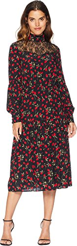 Silk Peasant Dress - Juicy Couture Women's Strawberry Print Silk Midi Dress Pitch Black Strawberry Fields Large