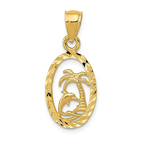 Jewel Tie 14K Yellow Gold Dolphin and Palm Tree Pendant - (0.98 in x 0.39 in) ()