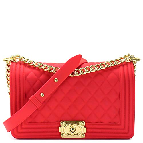 (Luxury Silicone Quilted Shoulder Bag (BRIGHT RED L))