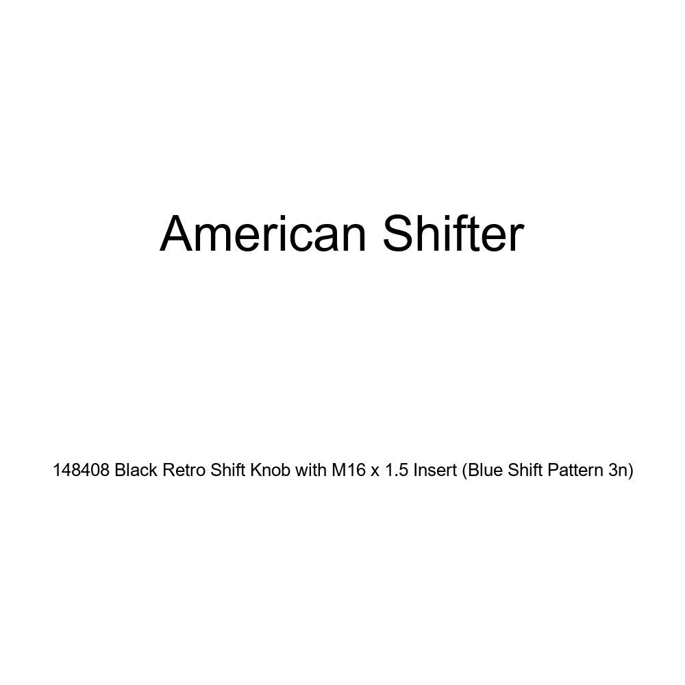 Blue Shift Pattern 3n American Shifter 148408 Black Retro Shift Knob with M16 x 1.5 Insert
