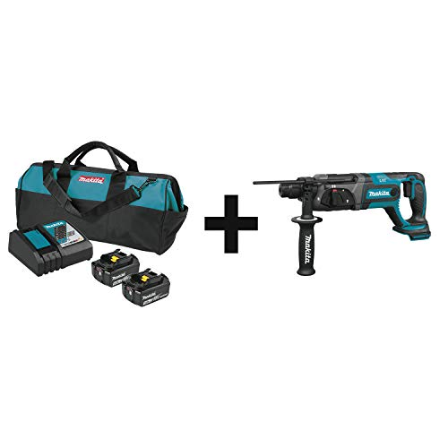 Makita BL1850BDC2X 18V LXT Lithium-Ion Battery and Rapid Optimum Charger Starter Pack (5.0Ah) with XRH04Z 18V LXT Lithium-Ion Cordless 7/8 Inch Rotary Hammer, accepts SDS-PLUS bits