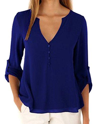 Col Tops en Fonc Mousseline Soie Bleu T shirt Sexy V Manches Femme Shinekoo Longues de E74wqBEp
