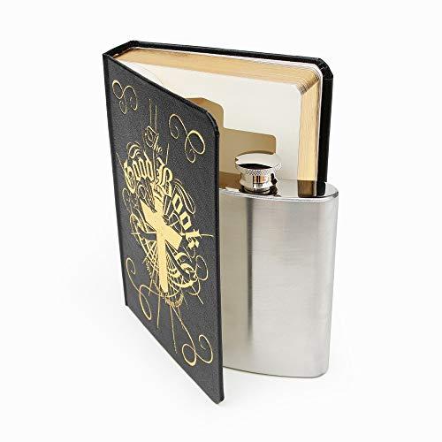 """Suck UK Secret Hip Flask roestvrij staal, verstopt in""""The Good Book"""", nieuw cadeau-idee en drankhouder, zwart, 120 ml"""