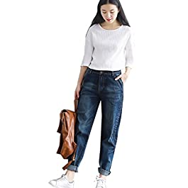 Flygo Women's Casual Loose Cropped Denim Harem Pants Boyfriend Distressed Jeans