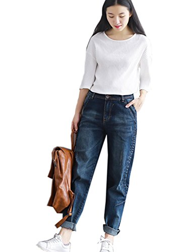Flygo Women's Casual Loose Distressed Baggy Harem Denim Jeans Cropped Pants (Medium, Dark Blue 02) by Flygo (Image #7)