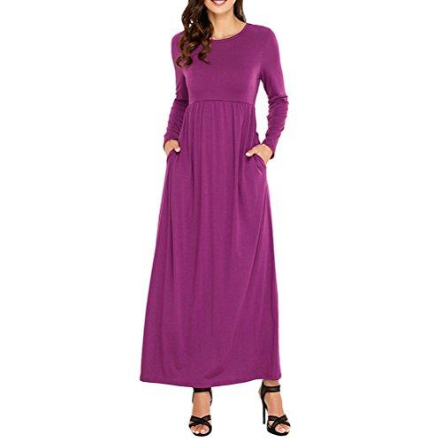 でも学部少なくともZhhlaixing 熱い販売 New Autumn Women's Round Neck Maxi Dress Long Sleeve Pocket Free Waist Casual Ladies Dresses Multicolor