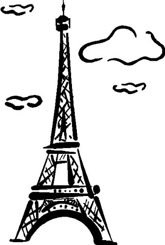 Eiffel tower wall art stickers decals graphics black