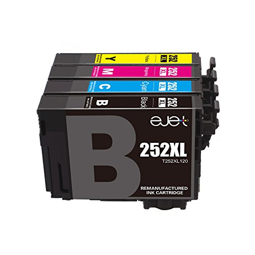 E-jet Remanufactured for Epson 252 252XL Ink Cartridge Combo Pack use with Epson WorkForce WF-3640 WF-3630 WF-3620 WF-7710 WF-7610 WF-7620 WF-7110 Printer (4 Pack)
